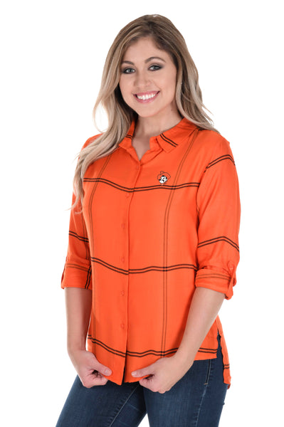 Oklahoma State Cowboys Satiny Plaid Shirt
