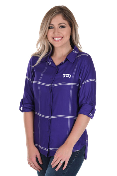 TCU Horned Frogs Satiny Plaid Shirt