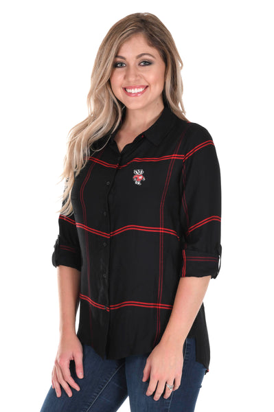 Wisconsin Badgers Satiny Plaid Shirt in Black