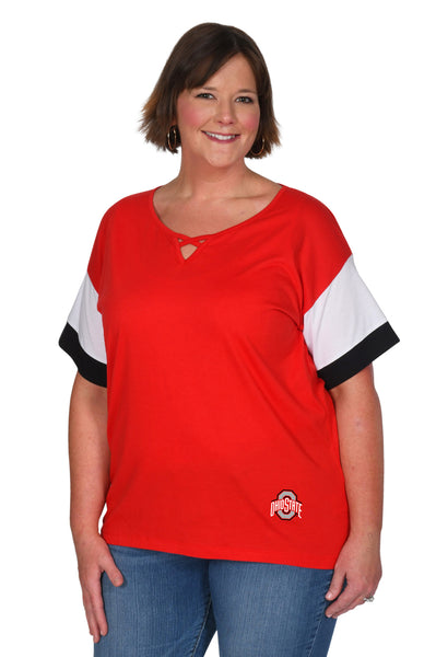 Plus Size Ohio State Colorblock Keyhole Top