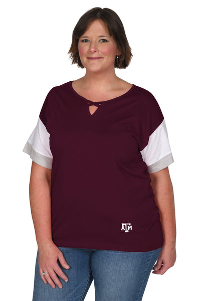 Plus Size Texas A&M Colorblock Keyhole Top