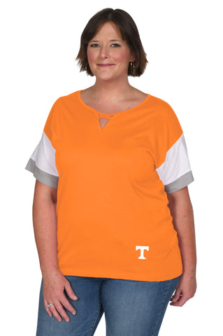 Plus Size Tennessee Colorblock Keyhole Top