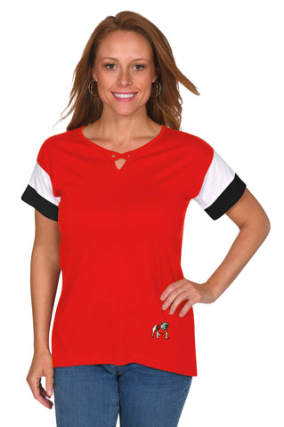 Georgia Bulldogs Colorblock Keyhole Top