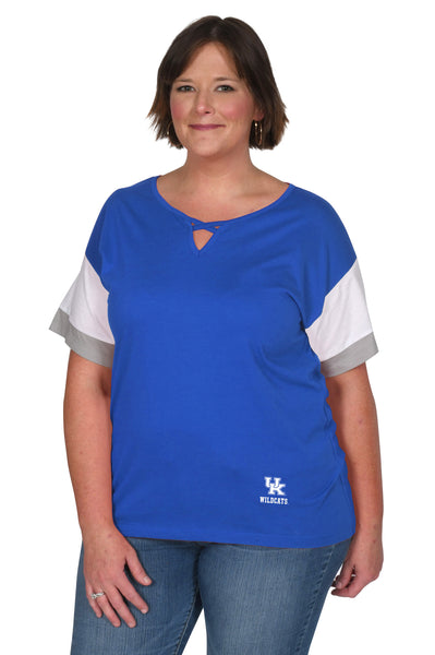 Plus Size Kentucky Wildcats Colorblock Keyhole Top