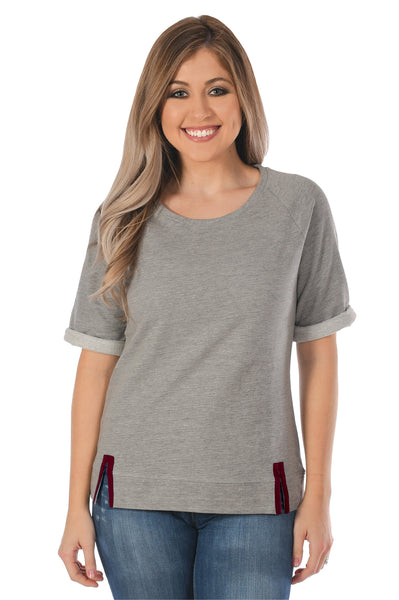 Grey and Maroon Women's Top