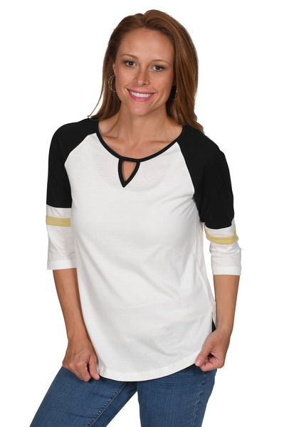 Women's Off-White, Black, Lite Gold Halftime Baseball Tee