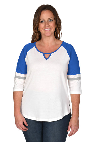 Women's Royal Blue, Grey, White Plus Size Halftime Baseball Tee