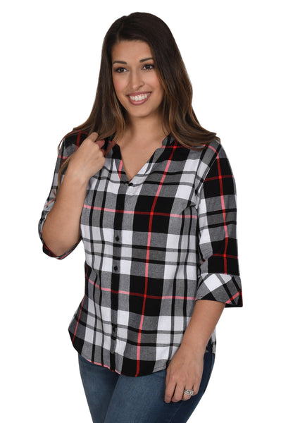 Women's Black and Red Plaid Top