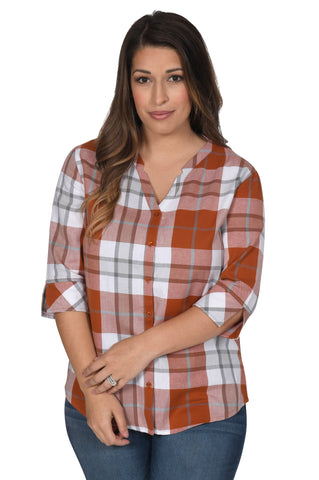 Women's Burnt Orange Plaid Top
