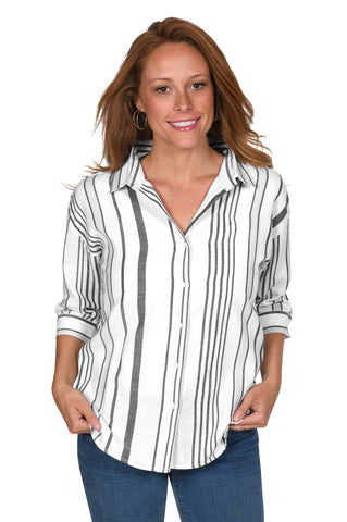 Black & White Striped Button-Up