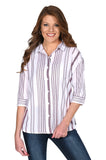 Maroon & White Striped Button-Up