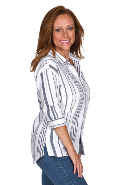 Navy & White Striped Button-Up
