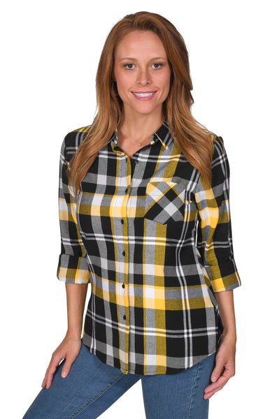Women's Black and Gold Boyfriend Plaid Shirt
