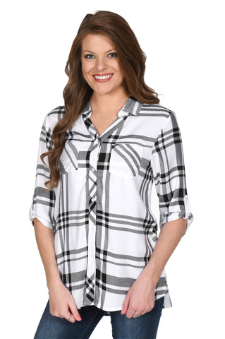 White and Black Women's Plaid Tunic