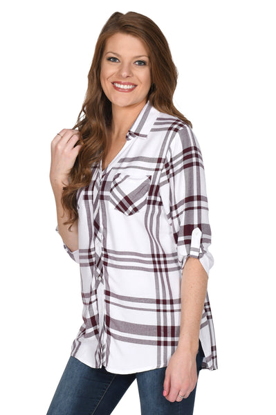 White and Maroon Women's Plaid Tunic