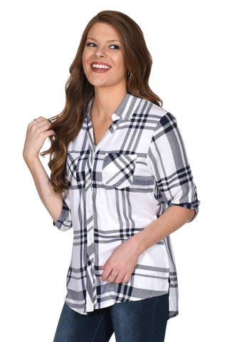 White and Navy Women's Plaid Tunic
