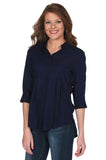 Women's Navy Button Up Top