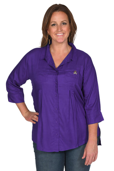 Purple East Carolina Pirates Women's Plus Size Top