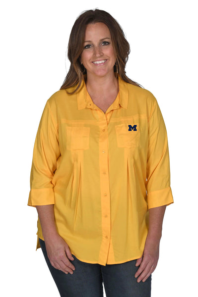 Gold Michigan Wolverines Women's Plus Size Top