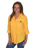 Gold Michigan Wolverines Women's Top
