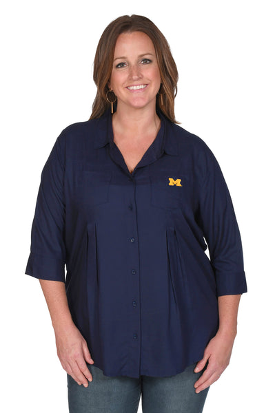 Navy Michigan Wolverines Women's Plus Size Top