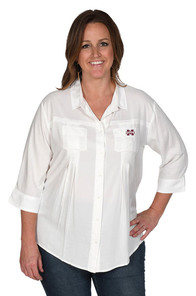 White Mississippi State Bulldogs Women's Plus Size Top
