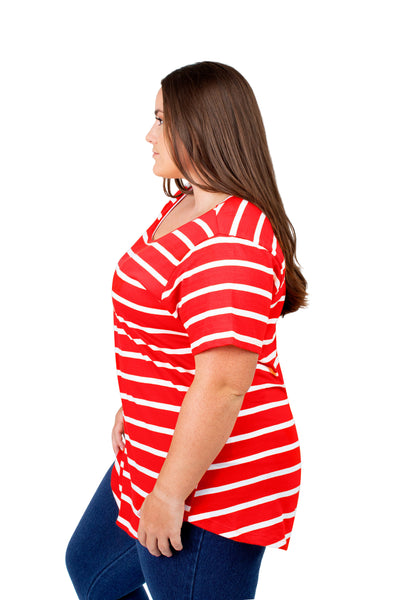 Plus Size Georgia Bulldogs Striped Sweet Tee