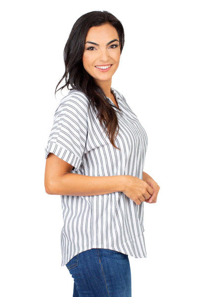 Short Sleeve Oklahoma State Striped Blouse