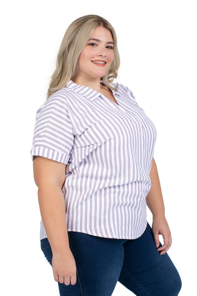 Plus Size Short Sleeve Texas A&M Striped Blouse