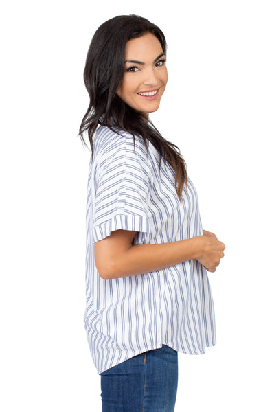 Short Sleeve Penn State Striped Blouse