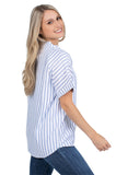 Short Sleeve Kansas Jayhawks Striped Blouse