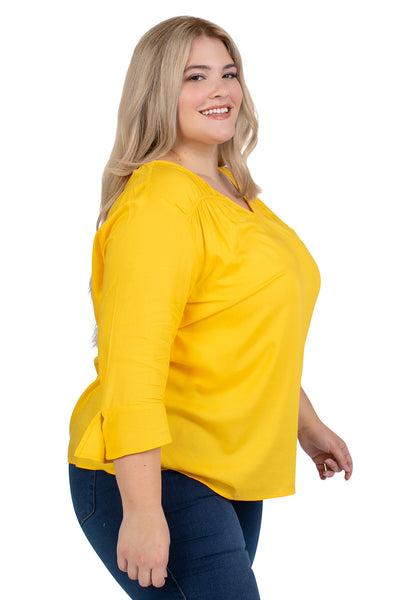 Plus Size WVU Gold Flutter Sleeve Top