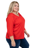 Plus Size Ohio State Red Flutter Sleeve Top