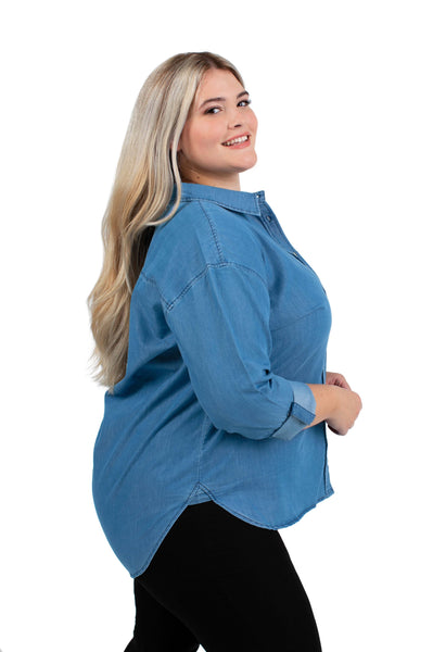 Plus Size NC State Perfect Denim Shirt