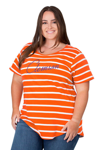 Plus Size Clemson Tigers Striped Sweet Tee