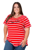 Plus Size Ohio State Buckeyes Striped Sweet Tee