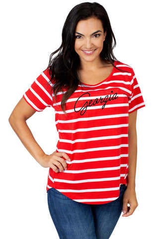 Georgia Bulldogs Striped Sweet Tee