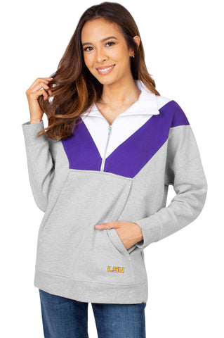 LSU Tigers Colorblock Quarter Zip