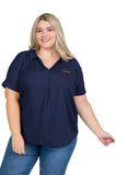 Plus Size Auburn Tigers Navy Dolman Sleeve Top