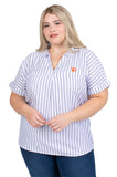 Plus Size Short Sleeve Clemson Tigers Striped Blouse