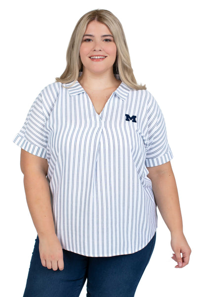 Plus Size Short Sleeve Michigan Wolverines Striped Blouse
