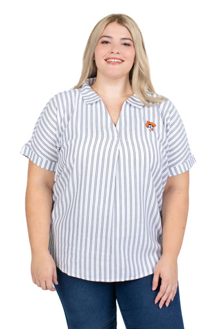 Plus Size Short Sleeve Oklahoma State Striped Blouse