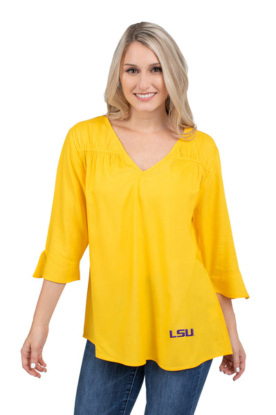 LSU Tigers Gold Flutter Sleeve Top