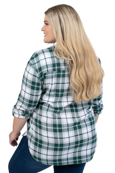 Plus Size Michigan State Perfect Plaid Shirt
