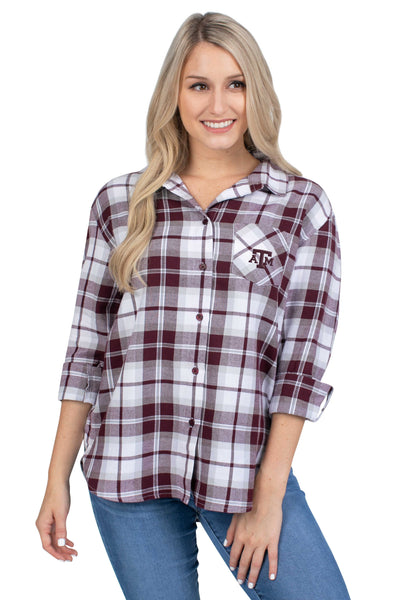 Texas A&M Plaid Womens Shirt
