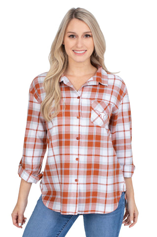 Texas Longhorns womens plaid shirt
