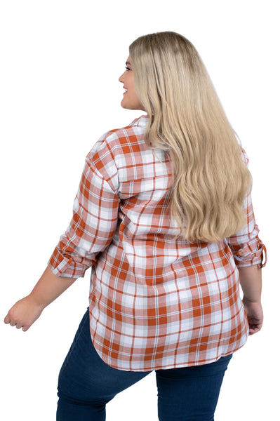 Plus Size Texas Longhorns Perfect Plaid Shirt