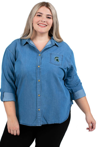 Plus Size Michigan State Perfect Denim Shirt
