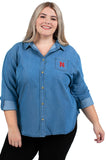 Plus Size Nebraska Huskers Perfect Denim Shirt