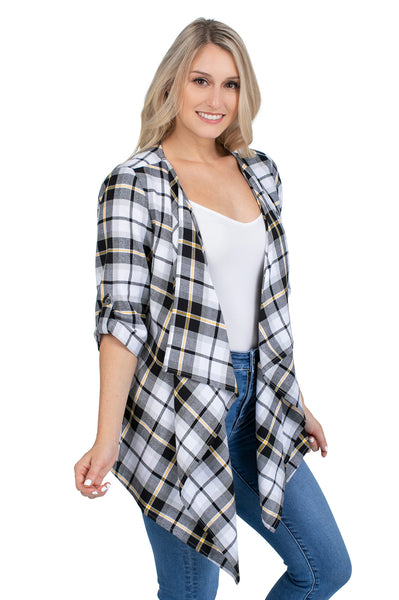 Black and Gold Plaid Cardigan